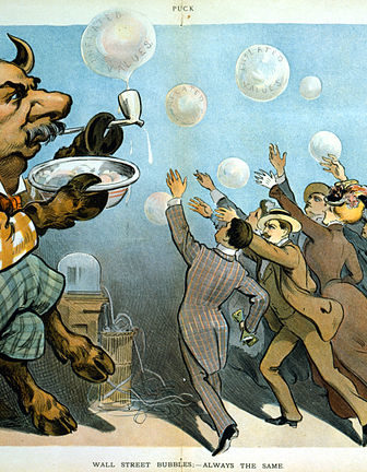 "Cartoon, ""Wall Street bubbles - Always the same"". American financier J. P. Morgan is depicted as a bull, blowing soap bubbles for eager investors. (See Bull market). Several of the bubbles are labeled, ""Inflated values."" Seen behind Morgan is a stock ticker, a machine which provided current information on stock prices."
