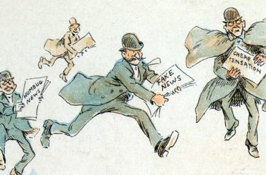 "The fin de siècle newspaper proprietor with ""fake news"" rushing to the printing press (1894). Frederick Burr Opper in Puck magazine. Via Wikimedia Commons."