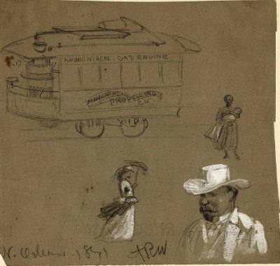 "New Orleans, 1871: ""Ammoniacal Gas Engine"" propelled streetcar, sketch by A. R. Waud, with subsidiary figures of woman holding baby, woman with parasol, and man wearing a hat. http://commons.wikimedia.org/wiki/File:AmmoniacalGasEngineStreetcarARWaud.jpeg"