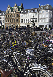 Bicycles parked in a Copenhagen square, courtesy of Eco Images.