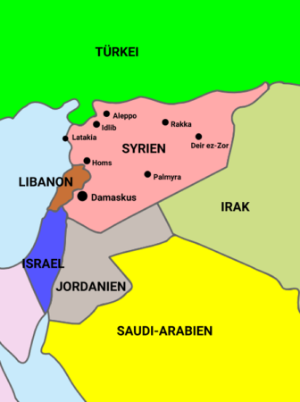 Map of Syria and other countries of the Middle East. It shows most larger Syrian cities which are or were subject to fighting during the war in Syria (2016). ReneRanks
