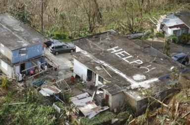 Help Puerto Rico message on roof