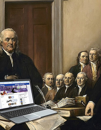 "Online Privacy and the Founding Fathers. Adapted from ""Declaration of Independence,"" by J. Trumbull, 1819. Photomontage by Matt Shirk (2015)"