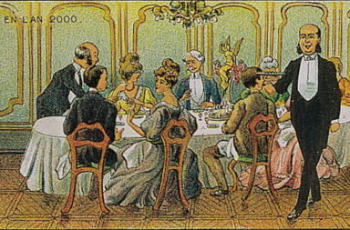 A Chemical Dinner in the year 2000. French post card (1910)