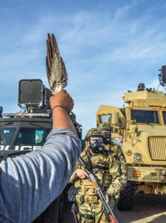 Water protector in front of bulldozer