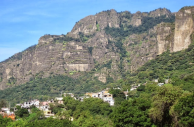 Houses tucked up against the sacred Tepozteco Massif in Tepoztlán, Morelos. Photo: Reed Brundage
